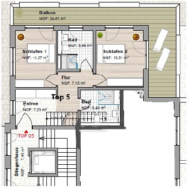 Wohnung Plan Top 5 OG